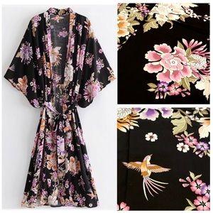 Boho Kimono Cover-Up Black Tropical